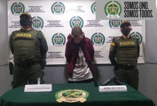 En Soacha, capturado por porte ilegal de armas de fuego.