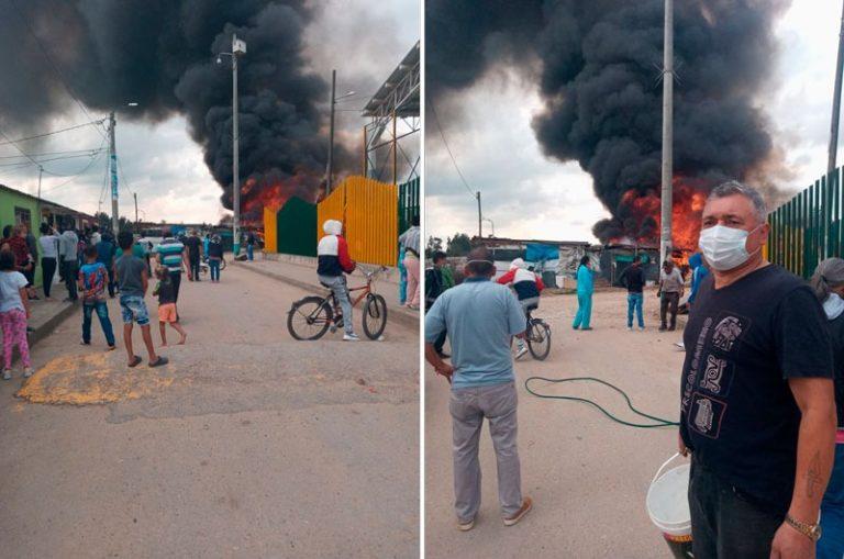 Se incendió vivienda de una pareja de recicladores en Mosquera, Cundinamartca.