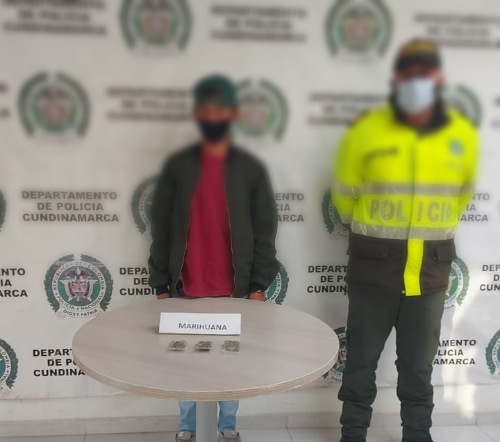 Joven fue capturado con marihuana en Bojacá, Cundinamarca.