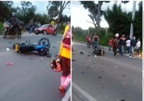 Un muerto y dos heridos deja accidente entre dos motocicletas vía Facatativá-El Rosal.